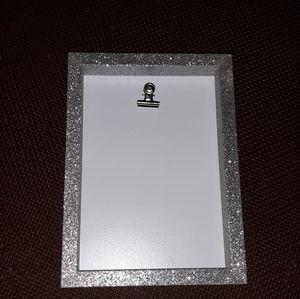 Silver sparkly clipboard